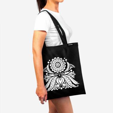 Bavlnená taška Biely kvet 2