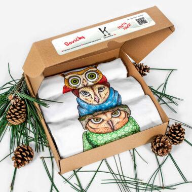 Vianočné oblečenie Sovičky 9 - Krabička
