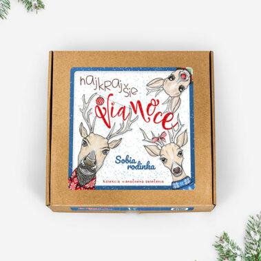 Vianočné oblečenie Sobia rodinka - darčeková krabička 2